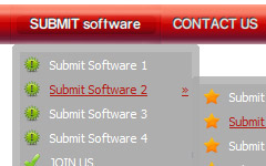 html rounded buttons Javascript On Mouse Over Submenu