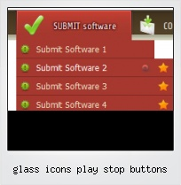 Glass Icons Play Stop Buttons