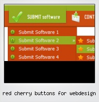 Red Cherry Buttons For Webdesign