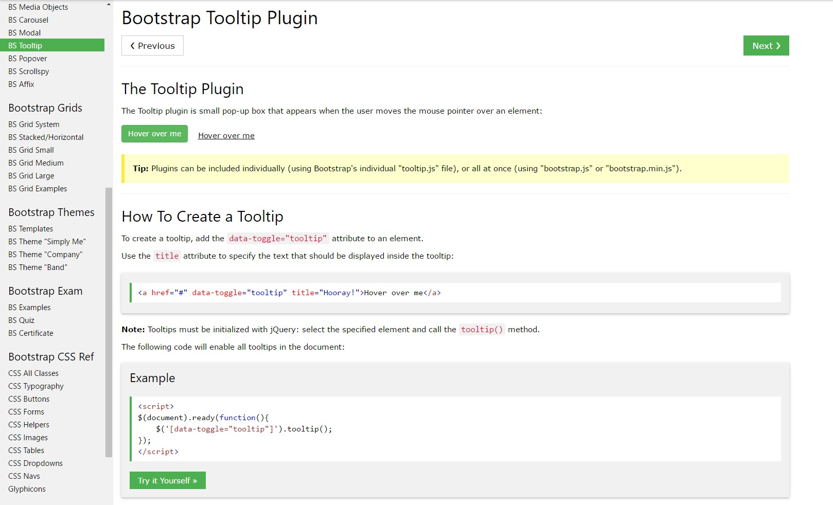 Bootstrap Tooltips  training