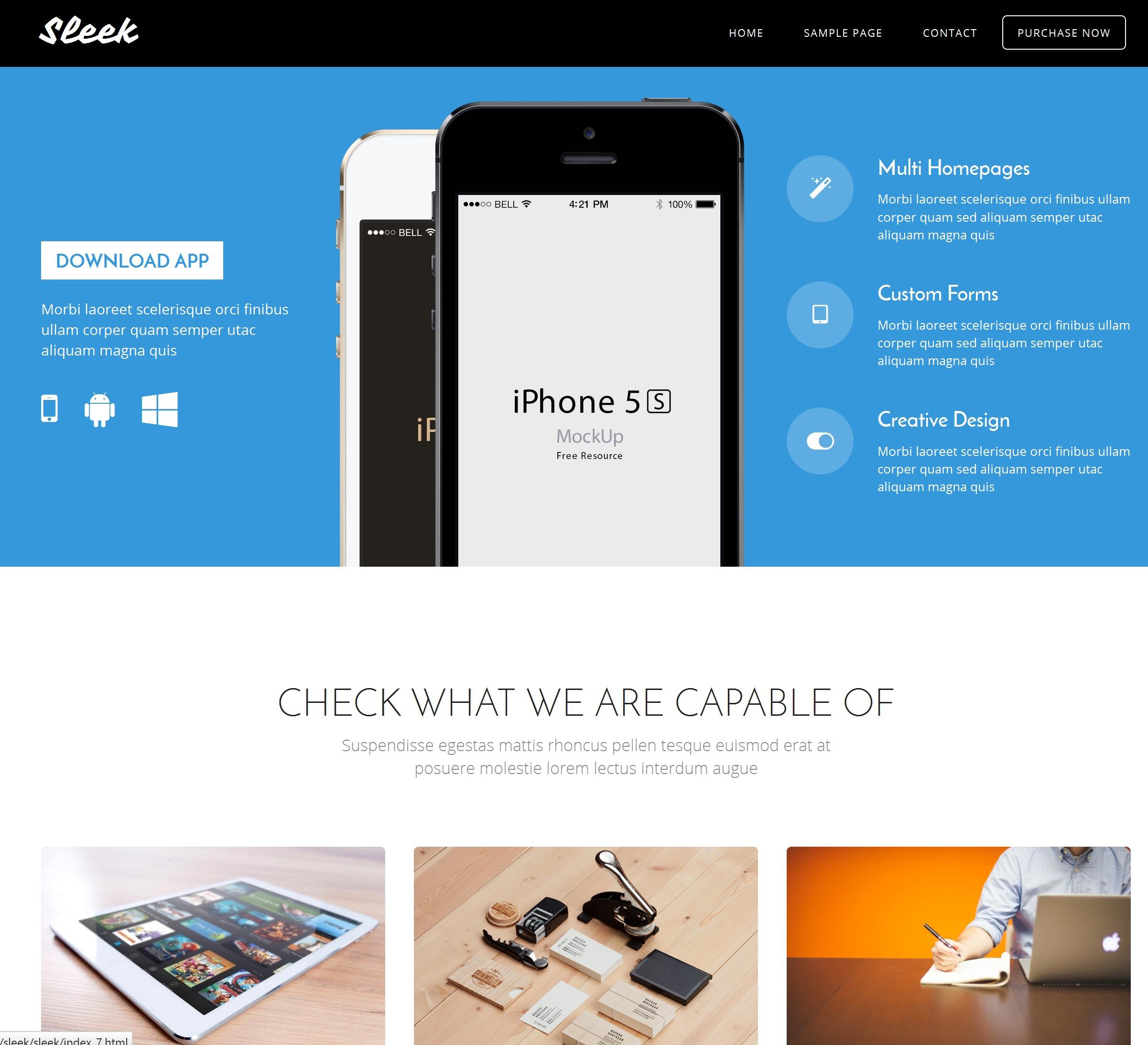 Mobile Bootstrap Minimal Theme