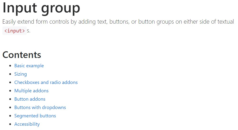 Bootstrap input  formal documentation