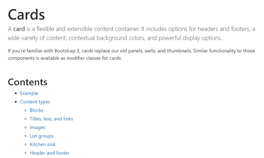Bootstrap Panel-Cards:  approved documentation